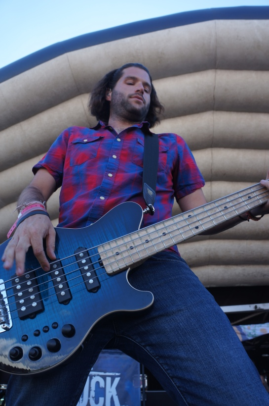 David Stiefel laying down some tasty basslines. -photo by the Hellion